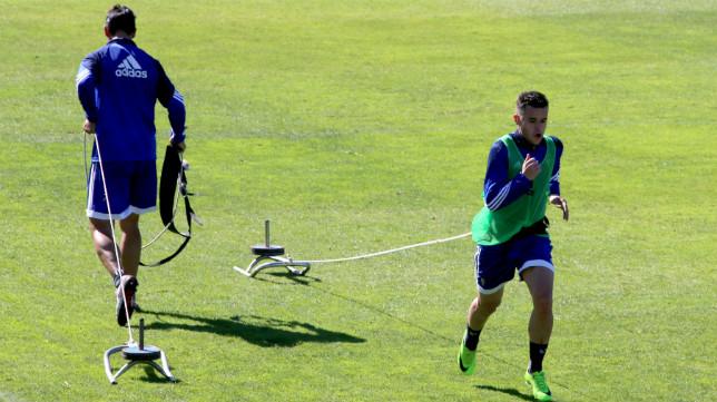 Ager Aketxe, en un entrenamiento celebrado en El Rosal.