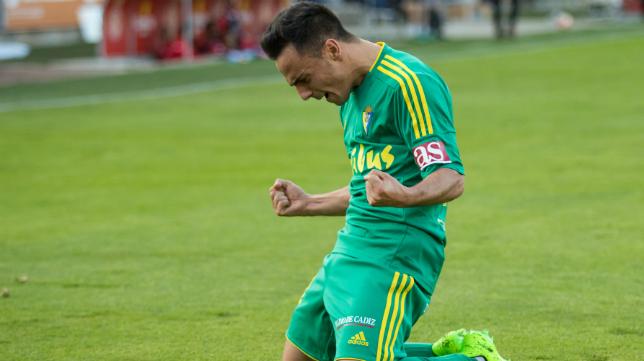 Álvaro García celebra su gol en Girona
