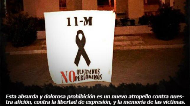 Esta es la pancarta que Bukaneros no pudo exhibir en el Ramón de Carranza.