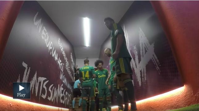 El túnel de vestuarios de Montilivi momentos antes del partido