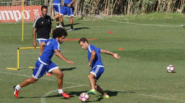 Gorka Santamaría y Aridane, en un entrenamiento.