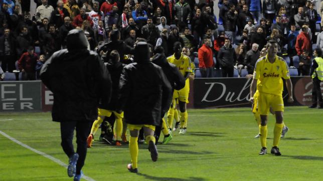 El gol de Ortuño en el minuto 93 fue celebrado a lo grande.