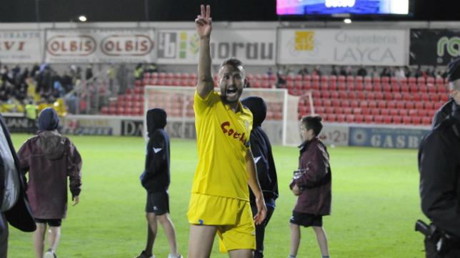 Servando celebra el empate en Huesca de la temporada pasada