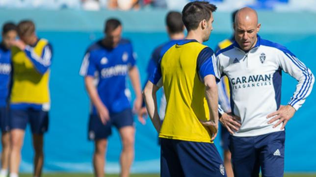 César Láinez, durante un entrenamiento.