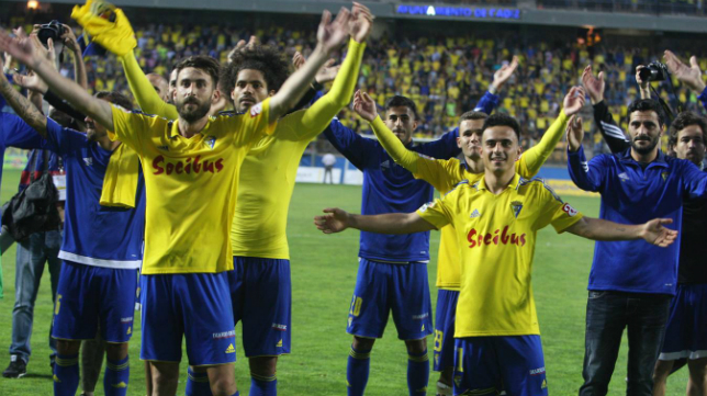Los jugadores del Cádiz CF celebran el play off de ascenso