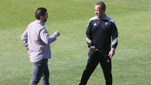 Juan Carlos Cordero y Álvaro Cervera, en un entrenamiento en El Rosal.
