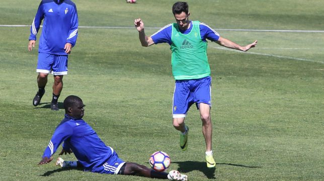 Rubén Cruz, en una acción en un entrenamiento.