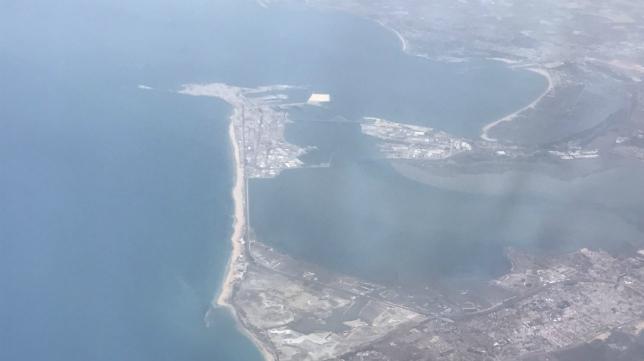 El twitter del Cádiz subió esta imagen panorámica de Cádiz tomada desde el vuelo de regreso a Jerez.