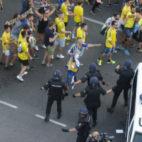 La Policía cargó contra algunos aficionados del Cádiz.