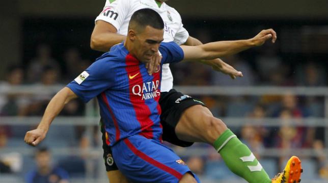Dani Romera, en el 'play off' de ascenso a Segunda con el Barça B.