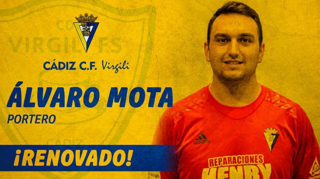 Álvaro Mota seguirá defendiendo la portería del Cádiz CF Virgili.