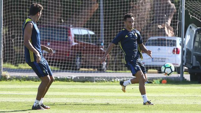 Álvaro García durante un entrenamiento.