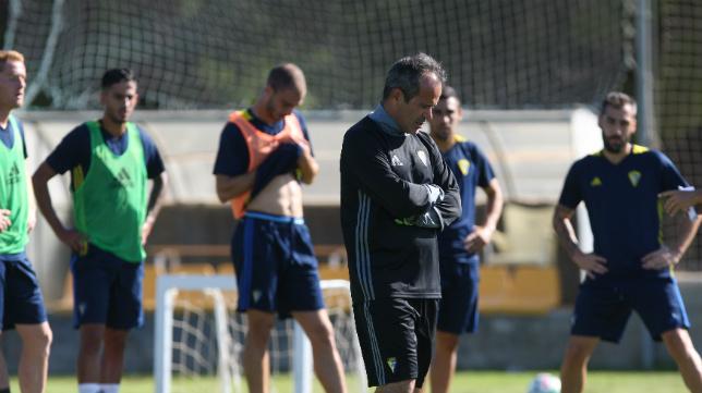 Álvaro Cervera, durante un entrenamiento en El Rosal.