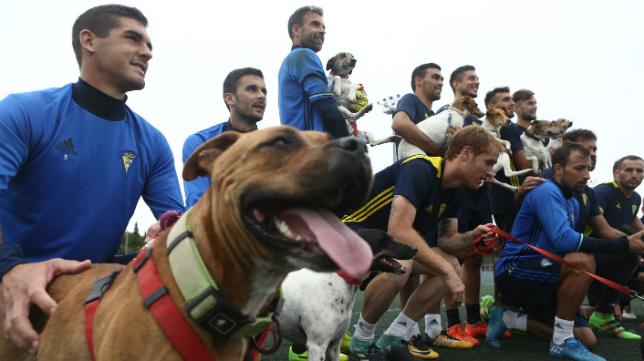 En primera instancia, Jon Ander Garrido sujeta a un perro.