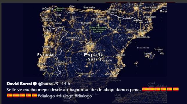 El tuit de Barral sobre el conflicto de Cataluña.