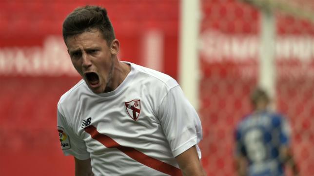 Marc Gual, delantero del Sevilla Atlético. Foto: Sevilla FC.