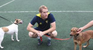 Álex Fernández, con dos perros en El Rosal.