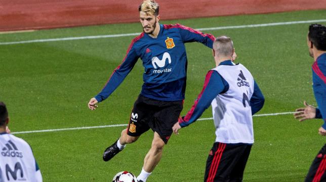 Luis Alberto, en un entrenamiento con La Roja.