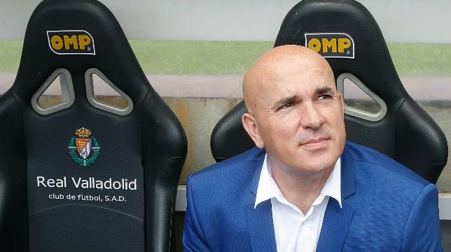 Luis César Sampedro, en el banquillo del Valladolid.