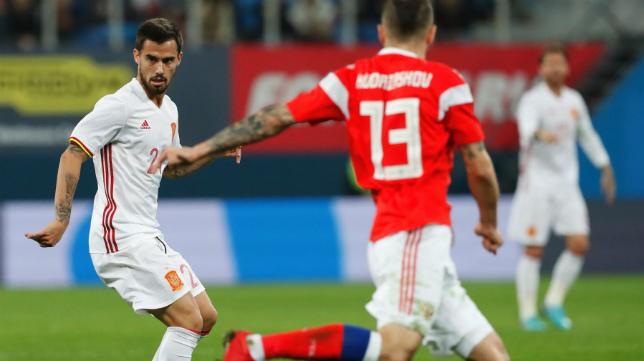 El gaditano Suso debutó con la Selección en Rusia.