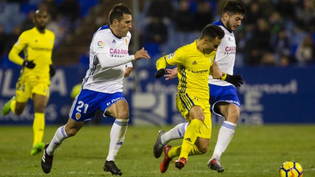 Álvaro García, en un partido contra el Real Zaragoza.
