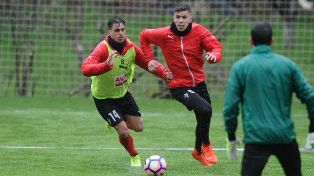 Christian Rivera, en un entrenamiento con el Eibar.
