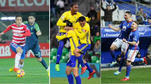 Granada, Cádiz CF y Oviedo, tres de los equipos de Segunda División que quieren reforzarse en el mercado invernal.