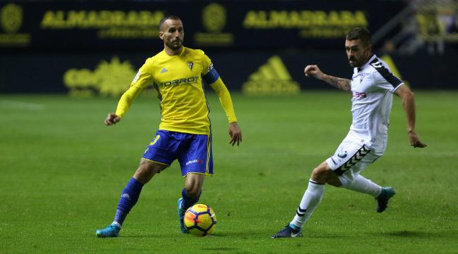 Servando en el partido ante el Albacete