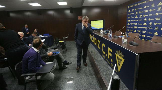 Manuel Vizcaíno presidió la junta de Accionistas del Cádiz CFel último año.