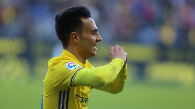 Álvaro García celebra un gol ante el Córdoba.