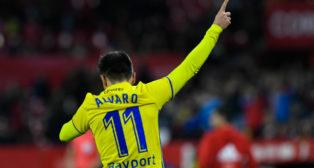 Álvaro García celebra su gol en el Sánchez Pizjuán.