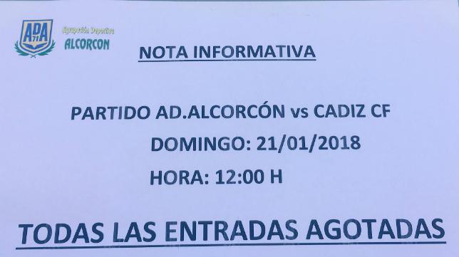 Nota informativa de la ADA Alcorcón sobre el partido del domingo.