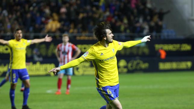 Eugeni celebra el gol al Lugo en Carranza.