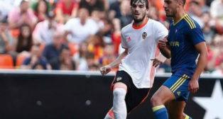 Eugeni durante un Valencia Mestalla-Celta B del 'play off' de ascenso a Segunda. Foto: Valencia CF.