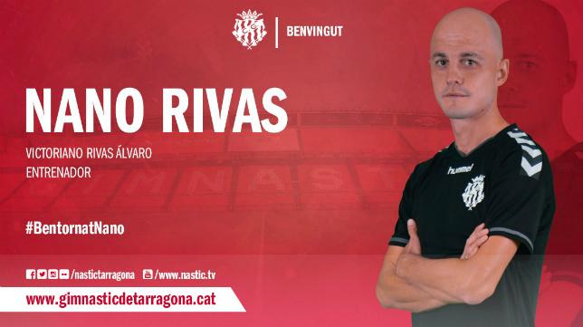 Nano Rivas, entrenador del Nástic. Foto: Nástic de Tarragona.