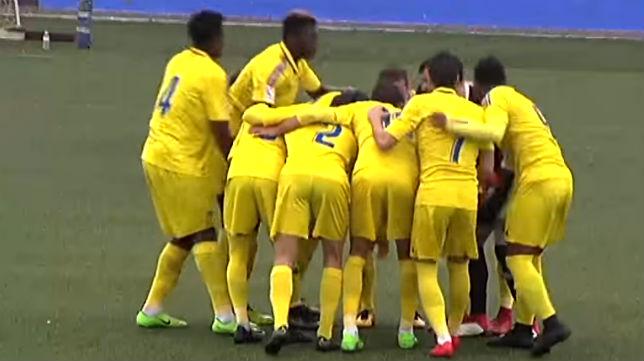 El Cádiz B, antes de comenzar el partido en Guadalcacín.