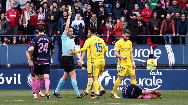 Marcos Mauro vio la amarilla ante Osasuna.