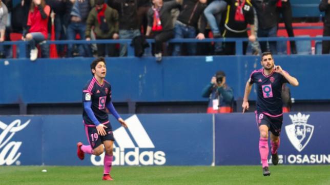 Fran Mérida (d) celebra su gol al Cádiz CF. Foto: LaLiga.