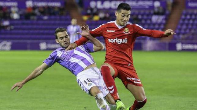 Antoñito, jugador del Valladolid, en un encuentro ante el Nástic.