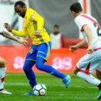 Abdullah, en su partido con el Cádiz CF esta temporada en Vallecas.