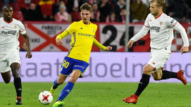 Sergio jugó la vuelta de los octavos de final de la Copa del Rey ante el Sevilla FC en el Sánchez Pizjuán.