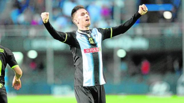 Rubén Cruz ya lleva nueve goles con el Cartagena. Foto: La Verdad.