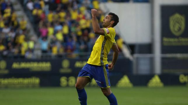 Barral celebrando el gol ante el Zaragoza