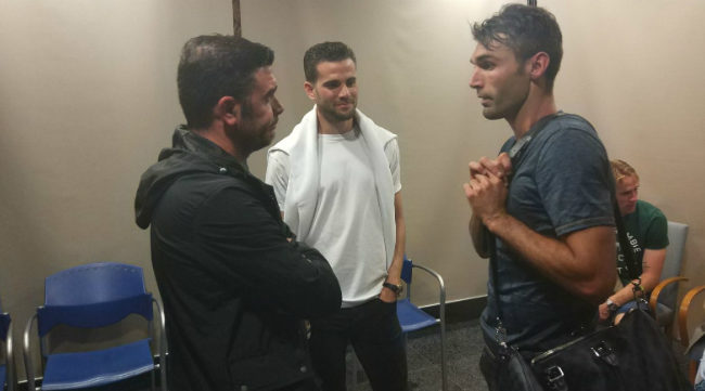 Enrique, Nacho y Barral en el Estadio Ramón de Carranza