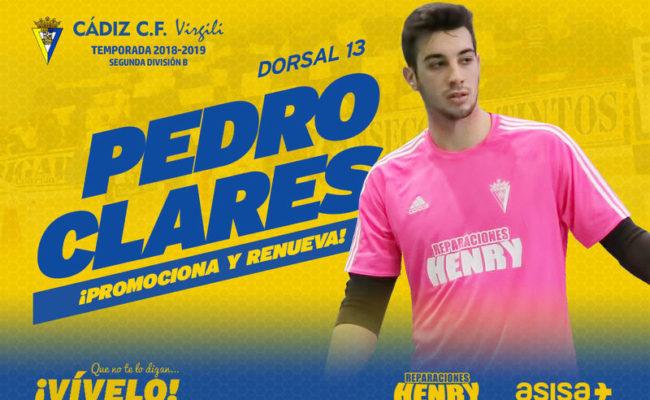 El portero del Cádiz CF Virgili Pedro Clarés renueva y sube al primer equipo