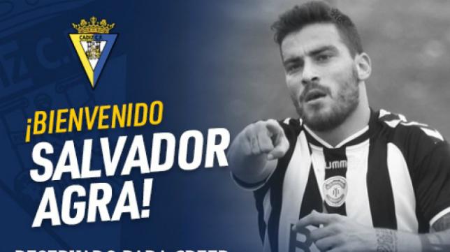 Salvador Agra, nuevo fichaje del Cádiz CF. Foto: Cádiz CF.