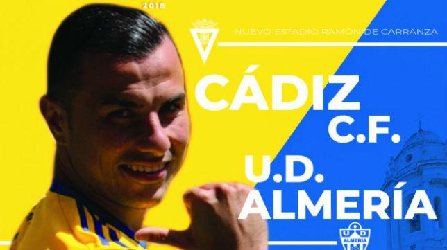 Cartel del partido Cádiz CF - UD Almería del viernes