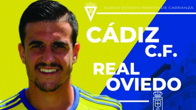 Cartel del partido del próximo sábado que enfrenta al Cádiz CF - Oviedo