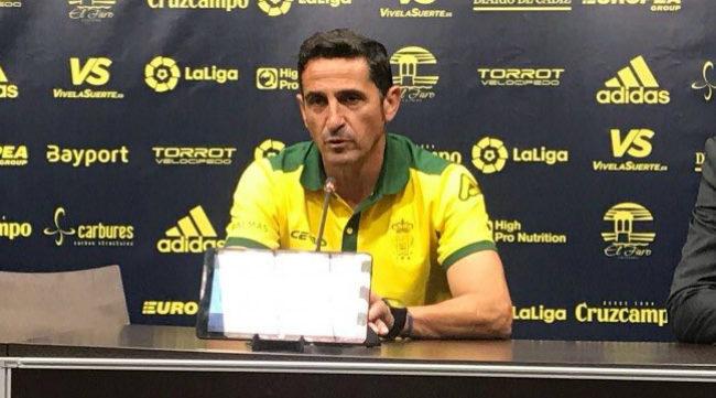 Manolo Jiménez, entrenador de Las Palmas, en sala de prensa