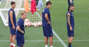 Marcós Mauro, Álex Fernández, Lekic y Perea, en un entrenamiento.